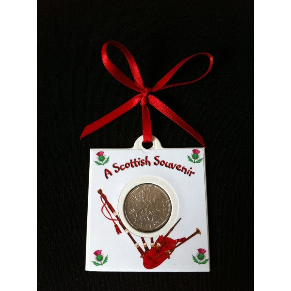 Bagpipes Lucky Sixpence Card