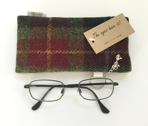 Burgundy Check Glasses Case