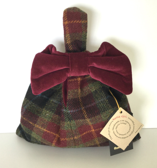 Burgundy Check Small Bow Handbag