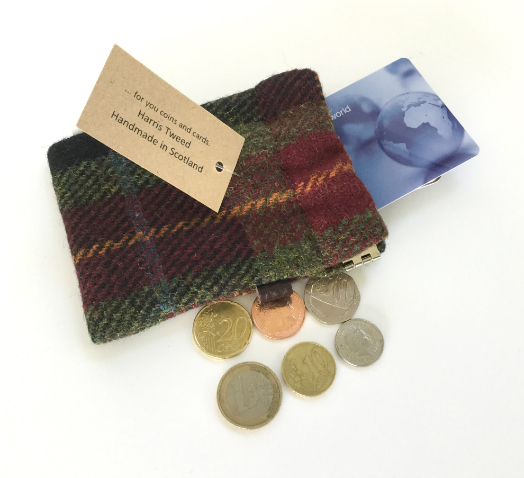 Burgundy Check Wee Poke - Cards and Coins Holder