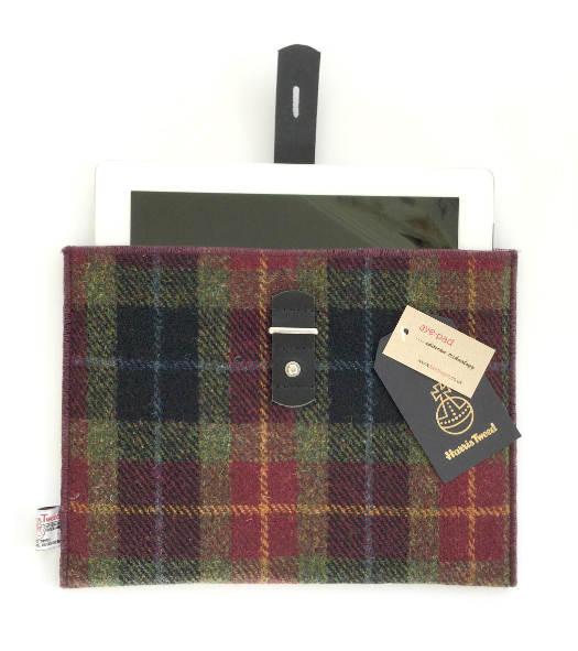 Burgundy Check iPad Sleeve