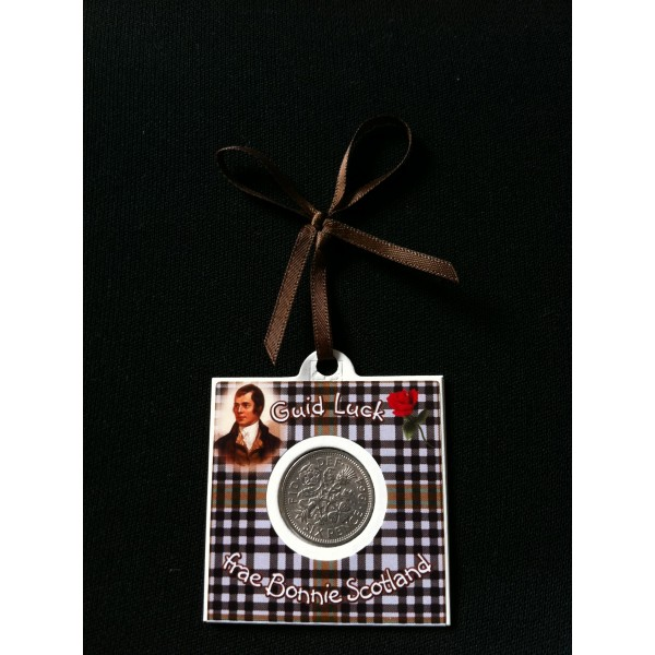 Burns Check Tartan Lucky Sixpence Card