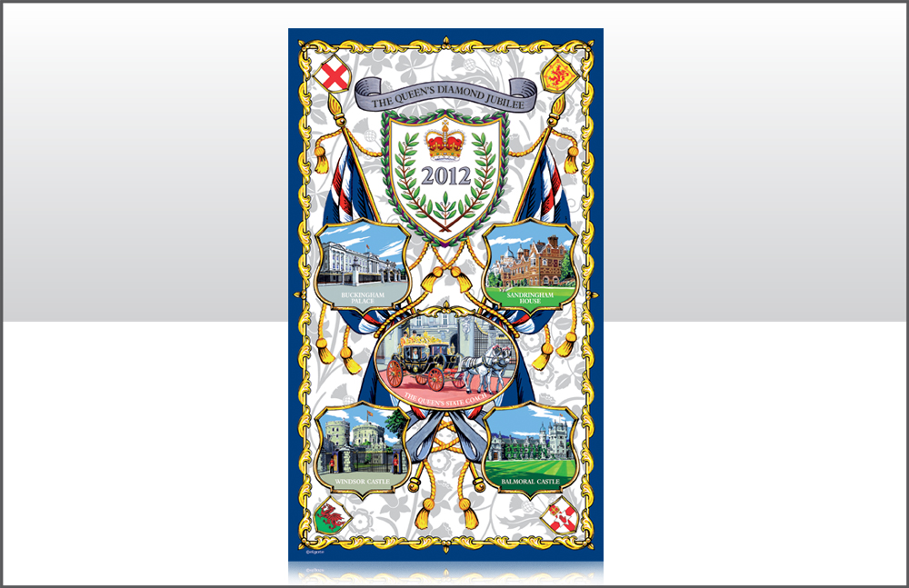 The Queen's Diamond Jubilee Cotton Tea Towel