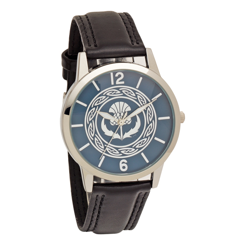 Thistle Embossed Dial Wrist Watch with Black Strap - Low Nickel