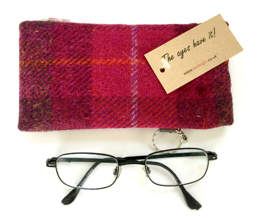 Fuchsia Check Glasses Case