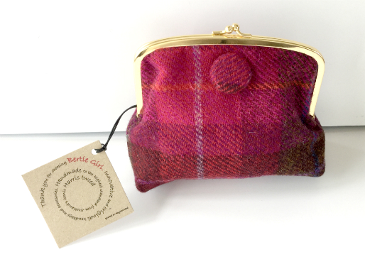 Fuchsia Check Square Frame Purse