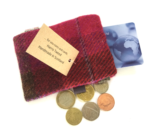 Fuchsia Check Wee Poke - Cards and Coins Holder