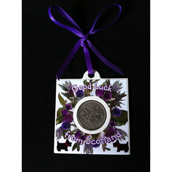 Heather & Scotties Lucky Sixpence Card