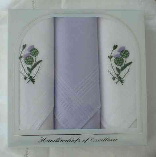 Box of 3 Ladies Thistle Hankies