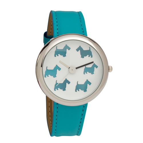 Ladies Scottie Dog Dial Wrist Watch with Aqua PU Strap