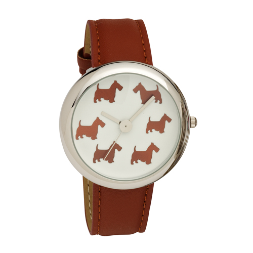 Ladies Scottie Dog Dial Wrist Watch with Brown PU Strap