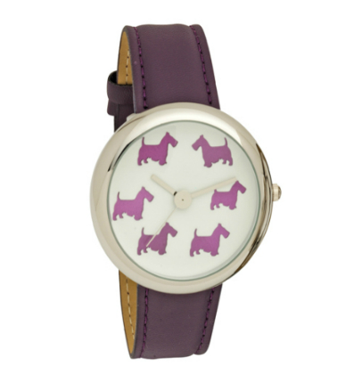 Ladies Scottie Dog Dial Wrist Watch with Purple PU Strap