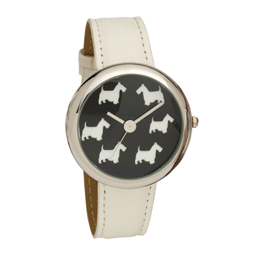 Ladies Scottie Dog Dial Wrist Watch with White PU Strap