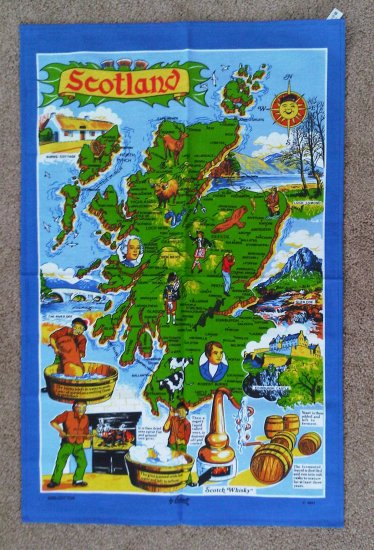 Map of Scotland Cotton Tea Towel