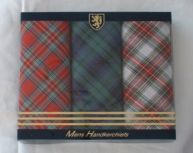 Box of 3 Men's Tartan Handkerchiefs