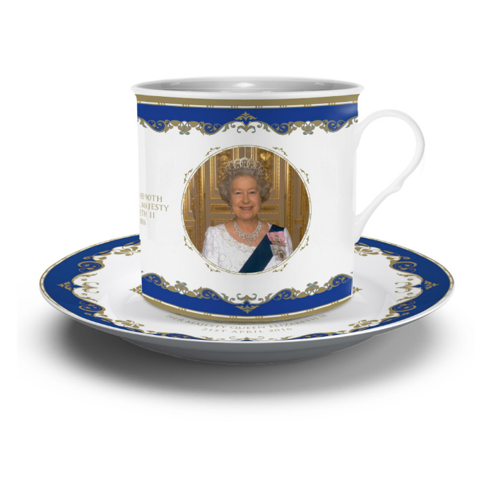 Queen Elizabeth II 90th Birthday Bone China Cup and Saucer Set