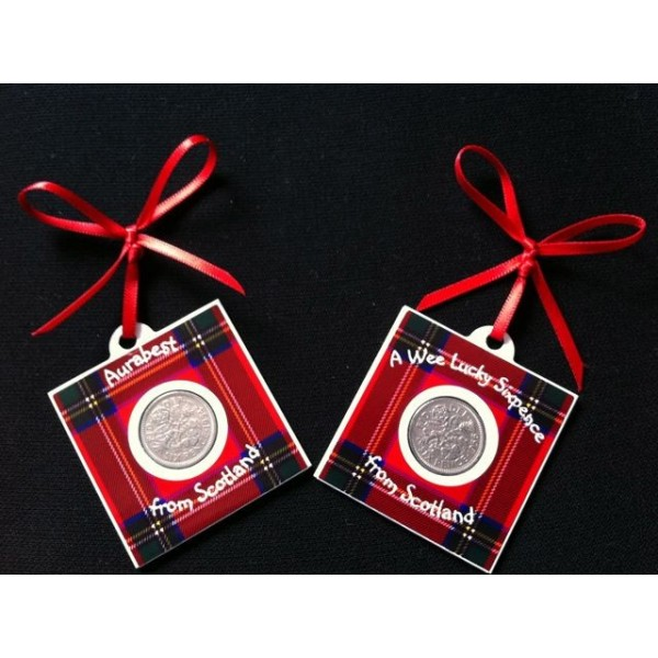 Royal Stewart Tartan Lucky Sixpence Cards - Set of 2