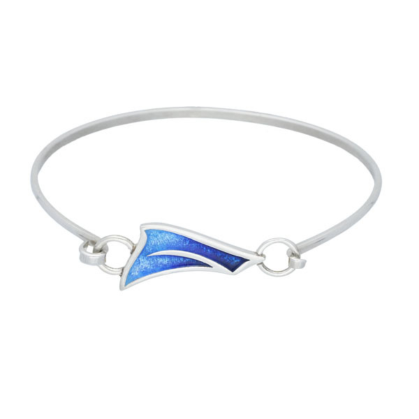Sail Away Sterling Silver Hot Glass Enamel Bangle - Oasis