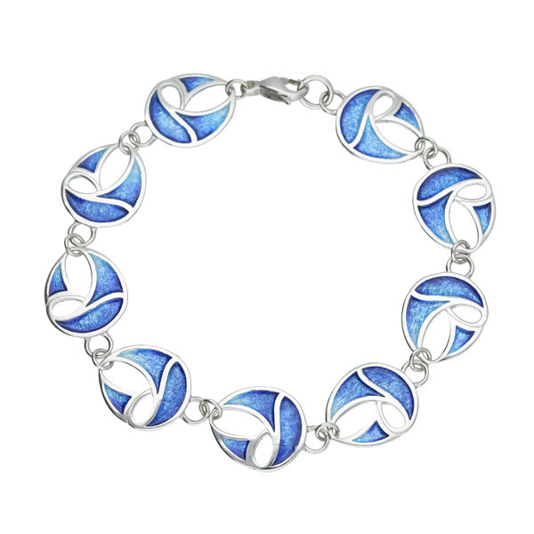 Sail Away Sterling Silver 9 Links Enamel Bracelet - Oasis