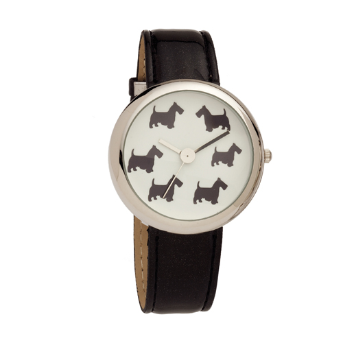 Ladies Scottie Dog Dial Wrist Watch with Black PU Strap