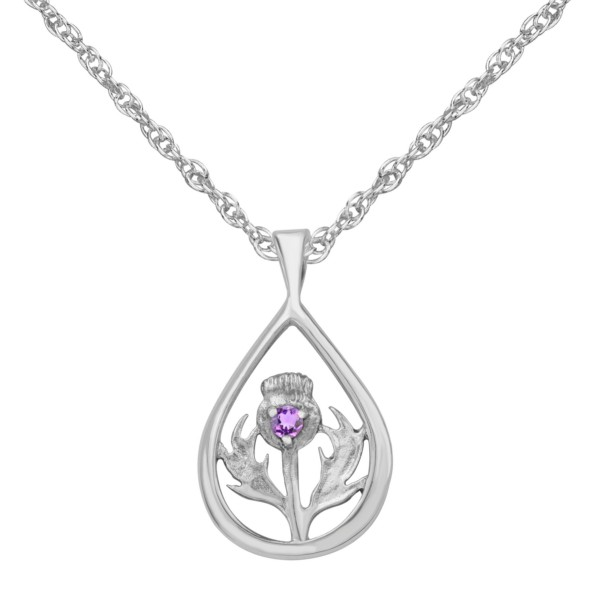 Scottish Thistle Pendant with Amethyst Color Stone