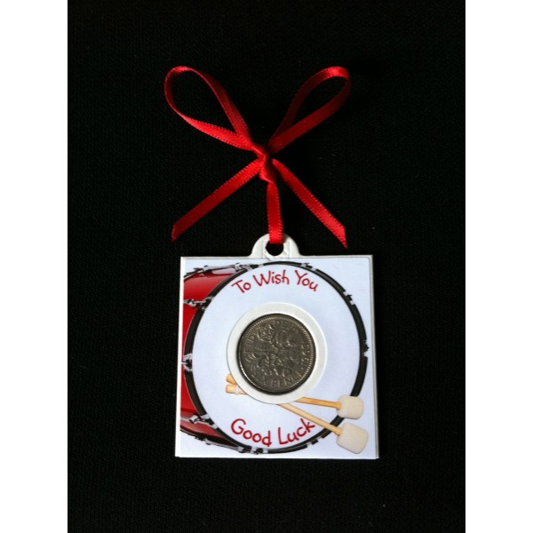 Big Bass Drum Lucky Sixpence Card
