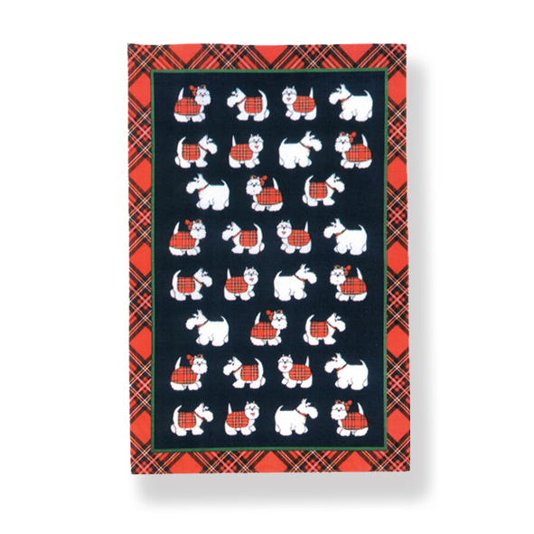 Tartan Terriers Cotton Tea Towel